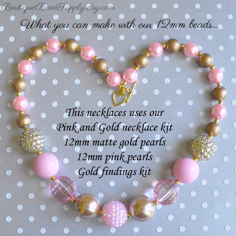 12mm Bubblegum bead necklace design ideas - Boutique Craft Supplies